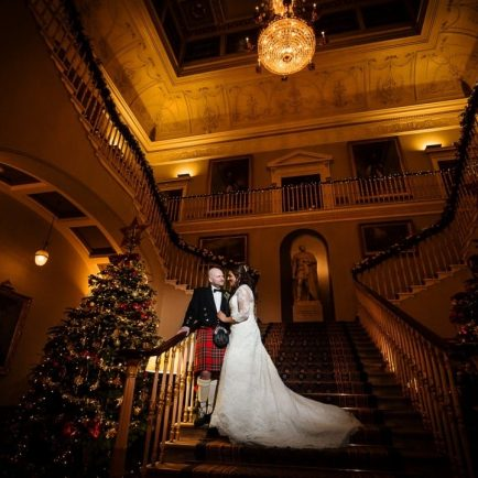 Hertfordshire wedding photographer takes low light portrait of bride & groom at Pall Mall on their wedding day