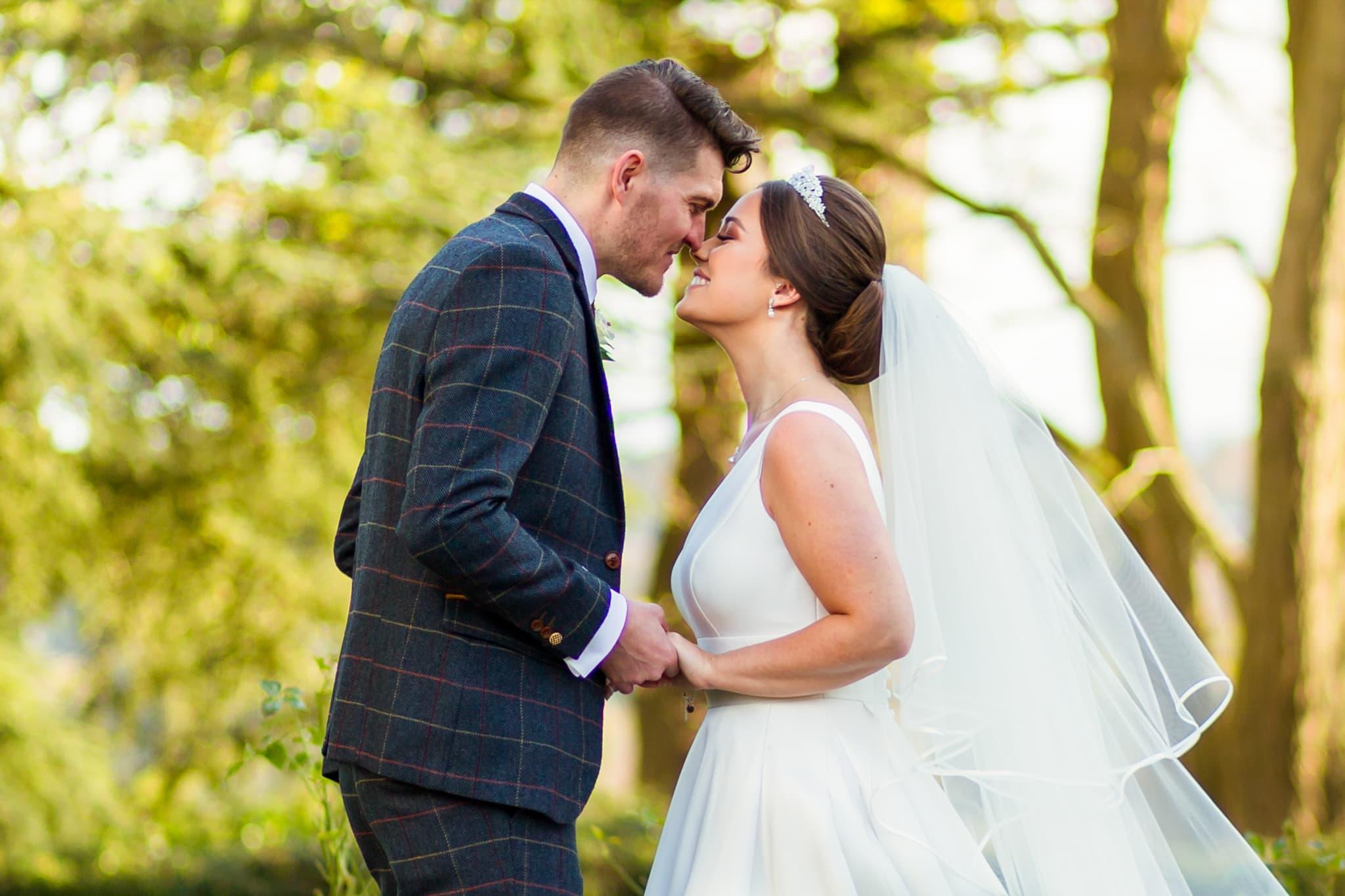bride and groom portrait in surrey